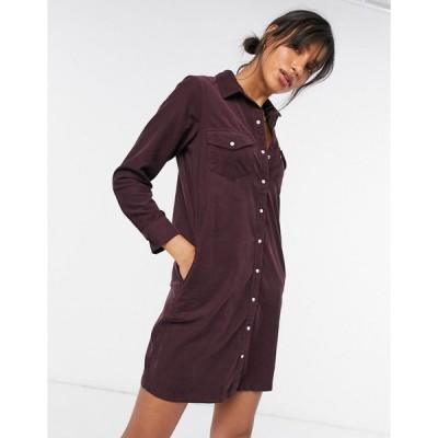 リーバイス ミディドレス レディース Levi's Selma shirt dress in burgundy cord エイソス ASOS
