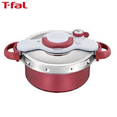 T-fal(ティファール) 圧力鍋 5.2L IH対応 4~5人用 ワンタッチ開閉 2in1 クリプソ ミニット デュオ レッド P4605136