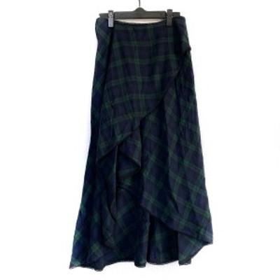 グレースコンチネンタル GRACE CONTINENTAL ロングスカート サイズ36 S レディース - ダークグリーン×黒 チェック柄【還元祭対象】【中