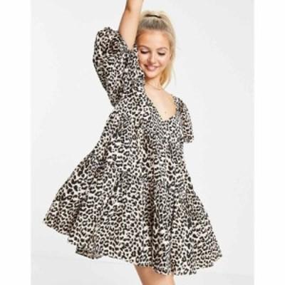 エイソス ASOS DESIGN レディース ワンピース Aライン ワンピース・ドレス cotton tiered mini smock dress in animal print アニマルプ