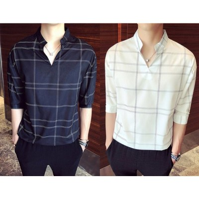 全2色 シャツ ブラウス 切り替え バイカラー スリム 着痩せ チェック柄 大きいサイズ