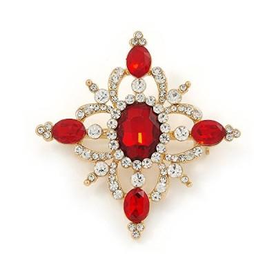 レッド/クリアオーストリアクリスタルダイヤモンド形状コサージュブローチでゴールドメッキ???50?mm L