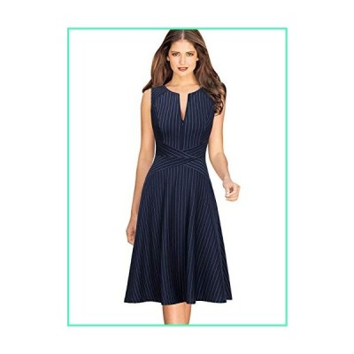 VFSHOW Womens Elegant Blue and White Pinstriped Pockets Slim Zipper up Work Business Office Party Skater A-Line Dress 2350 BLU S並行輸入品