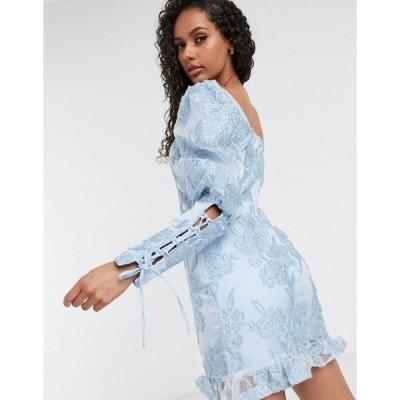 ミスガイデッド レディース ワンピース トップス Missguided puff sleeve milkmaid mini dress in blue