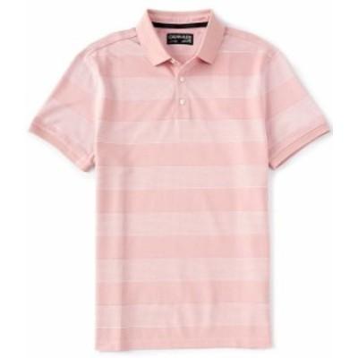 カルバンクライン メンズ シャツ トップス Liquid Bar Stripe Short-Sleeve Polo Shirt Bridal Rose Combo