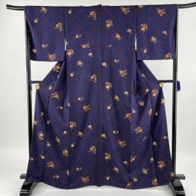 小紋 優品 草花 幾何学 青紫 袷 165cm 65cm M 正絹 中古