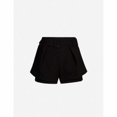 マージュ MAJE レディース ショートパンツ ボトムス・パンツ Overlay-detail stretch-twill shorts Black