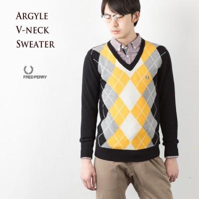 フレッドペリー セーター アーガイル ラムウール Vネックセーター K2271 102.BLACK FRED PERRYメンズセーター