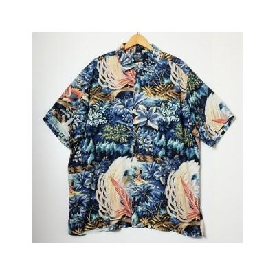 【中古】Polo Ralph Lauren【ポロ ラルフローレン】海外買い付け・直輸入ALOHA SHIRT 半袖アロハシャツブルーVISCOSE100%