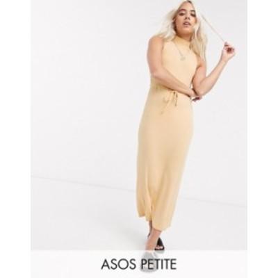 エイソス レディース ワンピース トップス ASOS DESIGN Petite Exclusive high neck ribbed midi dress with drawstring in mustard marl