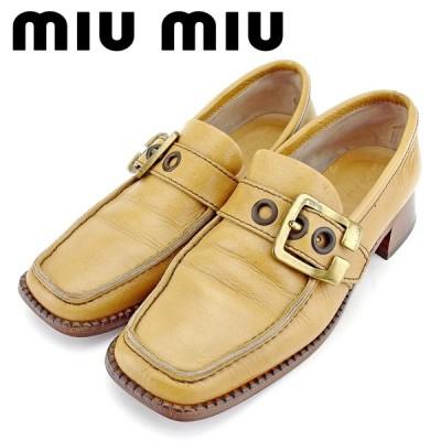 ミュウミュウ ローファー シューズ 靴 ♯37ハーフ スクエアトゥ ベルトデザイン miu miu 中古