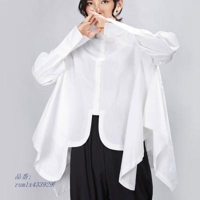 アシンメトシャツ トップス レディース 長袖 個性的 変形デザイン OL 黒 ゴシック アシメ ホワイト モード系 通勤 フォーマル ブラウス