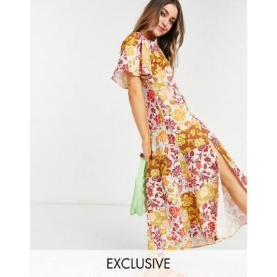 ジョンザック John Zack レディース ワンピース ミドル丈 ワンピース・ドレス exclusive fluted sleeve midi dress in contrast floral マルチカラー