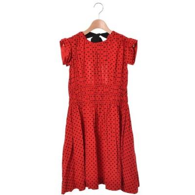 美品 miu miu ドットプリント ドレス ワンピース 38 レッド ミュウミュウ