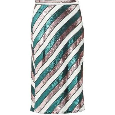 ダイアン フォン ファステンバーグ Diane Von Furstenberg レディース ひざ丈スカート スカート Sequin-striped bias-cut skirt Green