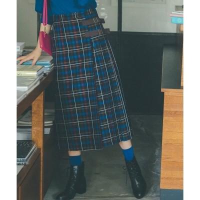 スカート WP95 JUPE チェックラッププリーツスカート