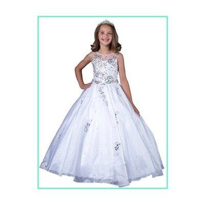 Wenli Kids Glitz Formal Occasion Dresses Girls Beaded Pageant Gowns 6 US White並行輸入品