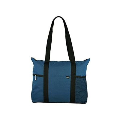 Shoulder Tote with Multiple Pockets and Zipper Closure, Navy