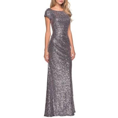 ラフェム レディース ワンピース トップス Short-Sleeve Long Sequin Dress