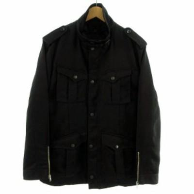 【中古】コムサイズム COMME CA ISM ジャケット M-65 ミリタリー ライナー付き ヘリンボーン ブラック 黒 L メンズ
