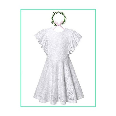 Flower Girl Lace Dress Wedding Birthday Ball Gown Pageant Dresses for Kids White並行輸入品