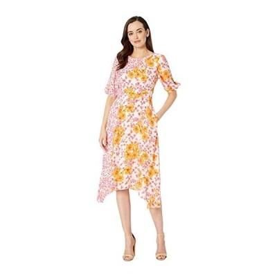 ダナモーガン ワンピース Aラインドレス レディースDonna Morgan Short Sleeve Georgette Dress with Asymmetrical Hem and Twin Print