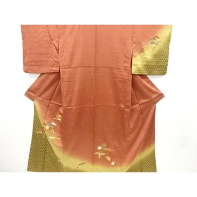 宗sou 金彩籠目に絵絣・松・菊・八重桜模様訪問着【リサイクル】【着】