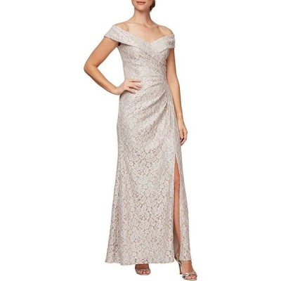 アレックスイブニングス レディース ワンピース トップス Sweetheart Off-The-Shoulder Front Slit Glitter Lace Gown