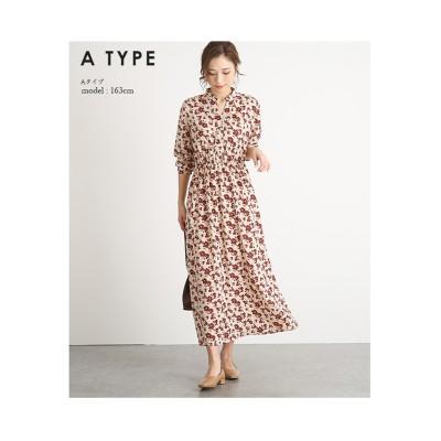【la-gemme】スキッパーカラー花柄ワンピース (ワンピース)Dress