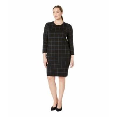 Anne Klein アンクライン ドレス 一般 Plus Size Long Sleeve Crew Neck Printed Knit Dress