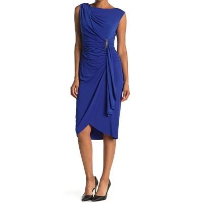 ロンドンタイムス レディース ワンピース トップス Sleeveless Ruched Drape Front Sheath Dress CHINA BLUE