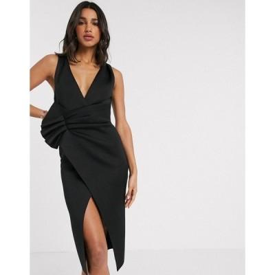 エイソス レディース ワンピース トップス ASOS DESIGN plunge tuck wrap midi dress Black