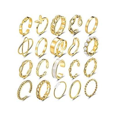 FME 10~20個 ゴールドナックルリングセット 重ね付けリンクツイストリング レディース ガールズ ボヘミアン レトロ 調節可能 ジョイントフィン