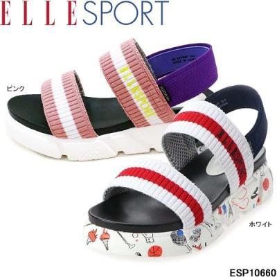 エルスポーツ ESP10660 ELLE SPORT マドラス 軽量 プラットフォーム ニットサンダル プリント ピンク ホワイト madras 婦人靴 レディース