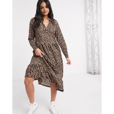 エイソス レディース ワンピース トップス ASOS DESIGN midi smock dress with grandad collar in animal print Animal print