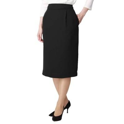 destyle ウォッシャブル ノルディスダブルクロス タックタイトスカート 通年用 ブラック