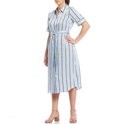 アレックスマリー レディース ワンピース トップス Ava Tie Waist A-Line Stripe Twill Machine Washable Midi Shirt Dress