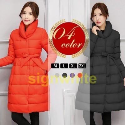 ダウンコートレディースロング丈シンプル中綿コートダウンジャケット大きいサイズ暖かい小顔カジュアル防寒防風冬