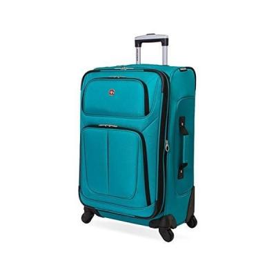新品 並行輸入品SwissGear Sion Softside Luggage with Spinner Wheels, Teal, Checked-Medium 25-Inch