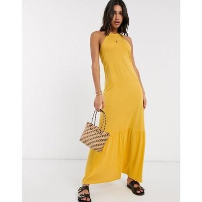 エイソス ASOS DESIGN レディース ワンピース マキシ丈 ワンピース・ドレス Asos Design Square Neck Halter Maxi Dress With Pep Hem In Mustard マスタード