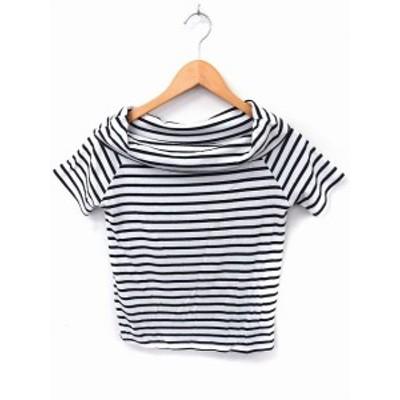 【中古】clear Tシャツ カットソー ボーダー 半袖 M ホワイト 白 /FT10 レディース