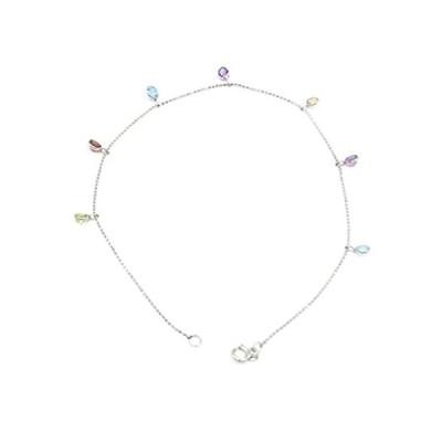 """[新品]マルチカラー宝石チャーム10""""アンクレット、14Kホワイトゴールドケーブルチェーン"""