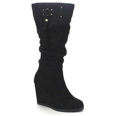 ブーツ シューズ 靴 シティークラシファイド CITYCLASSIFIED ESTER-FD レディース Slouch バックル Tassel Detailing ハイ ウエッジ ブーツ BLACK