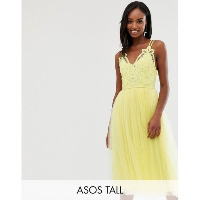 エイソス ASOS Tall レディース ワンピース ワンピース・ドレス ASOS DESIGN Tall Premium lace top tulle cami midi dress Yellow