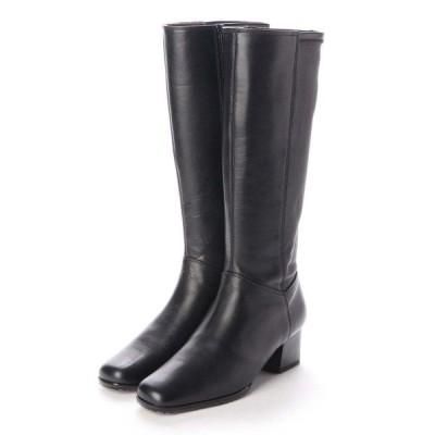 【20.5cm】特別価格!20.5〜21.5cm(小さいサイズ)婦人牛革ロングブーツ税込8,000円均一!ブラック