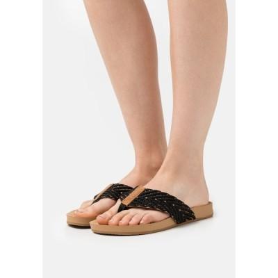 リーフ サンダル レディース シューズ CUSHION STRAND - T-bar sandals - black/natural