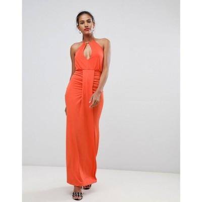 ミスガイデッド レディース ワンピース ワンピース・ドレス Missguided halterneck ruched front dress Orange