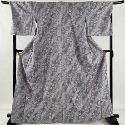 大島紬 美品 逸品 桜 道長取り 薄紫 袷 身丈165.5cm 裄丈71.5cm L 正絹 中古