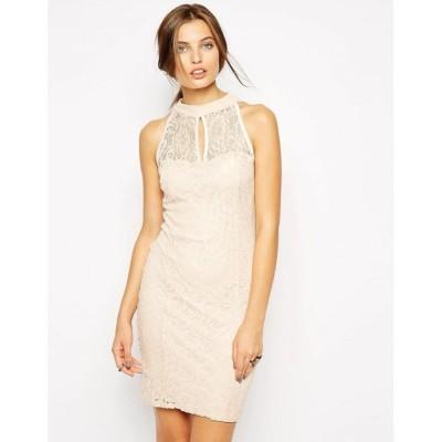 ジェシカ ライト Jessica Wright レディース パーティードレス ワンピース・ドレス High Neck Lace Dress Peach