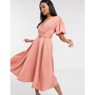 エイソス ASOS DESIGN レディース ワンピース ミドル丈 ワンピース・ドレス ruched shoulder belted soft prom midi dress in pink ピンク